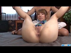 Hikaru Shiina plays with cock in each of her holes