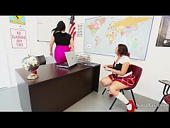 teachers sara jay and angelina castro fuck pupil gia in class
