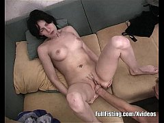 Slender Girlfriend Taking Boyfriend's Fist Into Her Pussy
