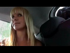 Eurobabe Bela pussy banged and receives cumload in her car