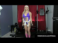 Asian Latina Cristi Ann Crams her Cunt with a Dildo while in & out of sexy work out clothes, only leaving her tennis shoes & warm ups on!