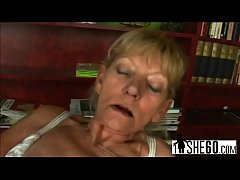 dirty blonde grandma gets fucked before sucking off younger guy s dick