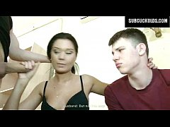 Russian wife cuckolds her submissive cuckold husband