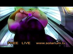Horny Girl in the Public Solarium while fingering filmed with the voyeur camera