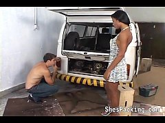 Ebony shemale fucking in the garage
