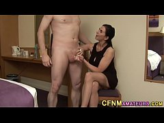 Stockings cfnm milf tugs