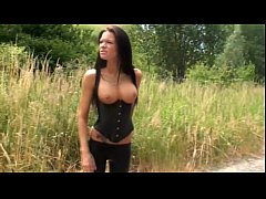 German Hotty appointed as a street cutie masturbates outdoor