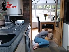 Sexy MILF fingering herself in the kitchen  --MyHornyAngels.com