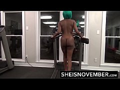 Slim Ebony Naked Butt Walking In Public Gym Booty Cheeks Bouncing Young Sexy Ass