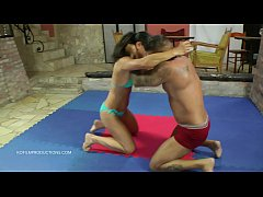 Aisa vs. Zsolt - bikini mixed wrestling