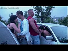 A girl undressing in a car on the way to the pu...