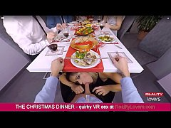 Vittoria Dolce is blowing you under the table during Christmas Dinner in VR
