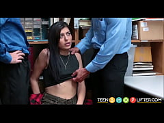 Young Brunette Small Tits Shoplifter Audrey Royal Fucked By Two Security Guards