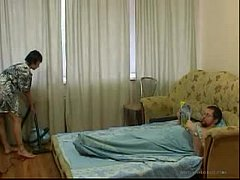 Young Daughter cleaning the room gets fuc ...