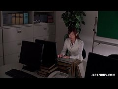 HD Office worker getting some juice up as her work gets boring