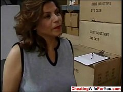 Mature Latina fucking her boss at work  Who is she??