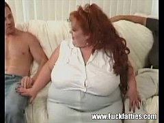 Huge BBW Redhead Takes On Three Massive Cocks