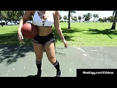 Phat Ass White Girl Nina Kayy shows off her curves while learning to shoot hoops with A Big Black Cock which she quickly gets into her mouth & open legs! She fucks her coach & his balls to get his perfect (cum) shot!