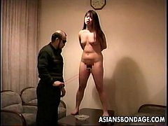 Loud ass Asian slut getting slapped and is tied up