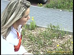 Pick up german Blonde for her first anal