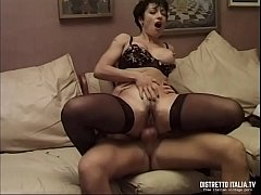 Anal toast with a slut brunette in sexy black stockings