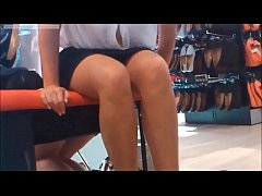 cute amateur flash in public shoestore