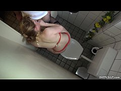Blonde wife sucks off many strangers at the mens room
