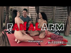 HITZEFREI Anal threesome outdoors with two brunettes