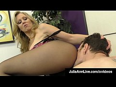Busty Blonde Milf Julia Ann teases a limp dick, taunting & abusing him until he fucks her pantyhose covered legs until he dumps his cum on her feet! Full Video & Julia Live @ JuliaAnnLive.com!