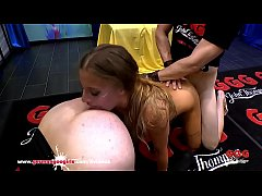 Silvia loves big cocks filling her asshole and of course warm cum in her face! German Goo Girls