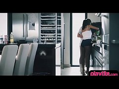 Lesbo teens having pussy licking fun in the kitchen
