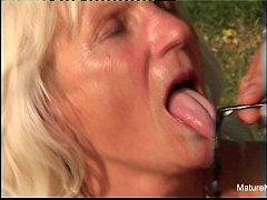 Blonde grandma fucks