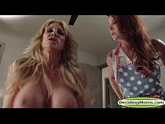 Guy fucks stepmom Janet Mason and her milf friend Farrah Dahl