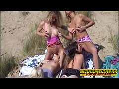 amateur lesbian teens and milfs try orgy on beach