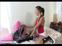 Val empties her bag of brutal dildos and stretches her pussy