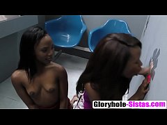 Two hot girls pleased with glory hole