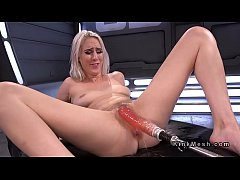 beauty chick with pink pussy fucked by machine
