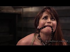 Gagged slave in rope bondage got rough fucked