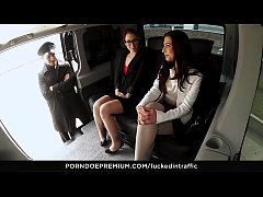 FUCKED IN TRAFFIC - Petite beauty loves riding big dick in the backseat