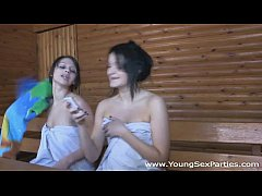 Hot fucking in a sauna