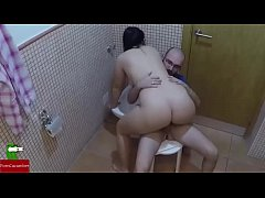 Hot couple fucking in the bathroom. Homemade voyeur IV019