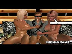 Two naughty 3d cartoon strippers with blo ...