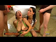 gorgeous legend viktoria goo and skinny brunette babe aymie get super wet in a huge pissing gangbang 666bukkake