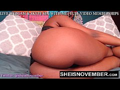 HD Little Waist Large Hips Ebony Babe Cosplay Cam Model Msnovember Lay Side ways And Poke Out Her Curvy Booty Wearing Dark Panties On Webcam