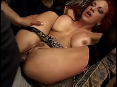 Stunning redhead MILF Shanon Kelly with big jugs and big round keyster gets bent over couch and banged hard with thick cock