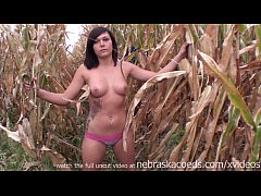 extremely beautiful teen naked around corn fields on real iowa farm
