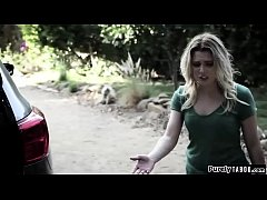 Creeper sees a teen student waiting for her driving instructor.He takes on that role and lets her drive to a desolate road.She can get her license if she fucks him.Shocked and trapped she has no other option to suck his cock and get fucked by him