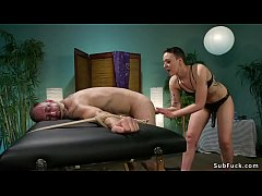 brunette dominatrix masseuse lilith luxe gapes and anal fucks hairy ass dude in rope bindage