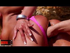 Hot bigtit blonde fucked hard in the ass at the beach