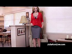 HD Busty Milf Julia Ann Bangs Her Hot Pussy with a Dick Dildo!